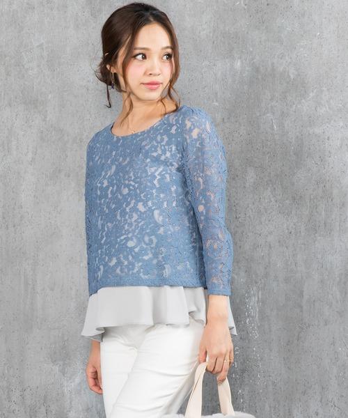 レーシーレイヤード ドレスシャツ 9分袖