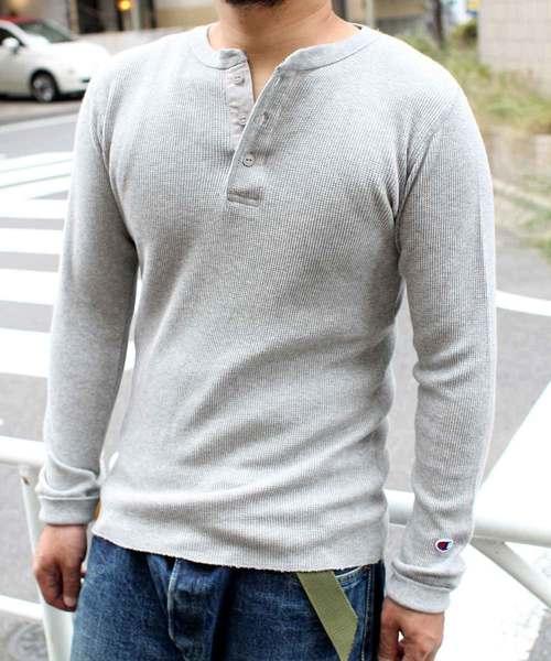 【Champion/チャンピオン】ワッフルヘンリーネックロンT