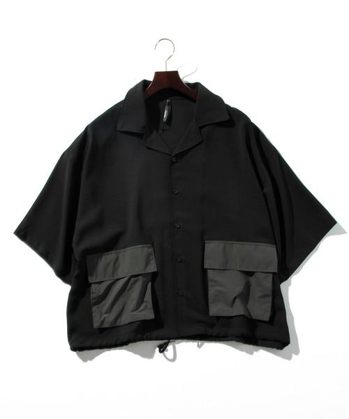 ポリナチュラルストレッチ別布ポケットDSシャツ