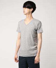 AZUL BY MOUSSY(アズールバイマウジー)のハニカムシャドーボーダーVネック半袖T(Tシャツ/カットソー)