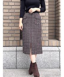 31 Sons de mode(トランテアン ソン ドゥ モード)のファンシーツイードタイトスカート(スカート)