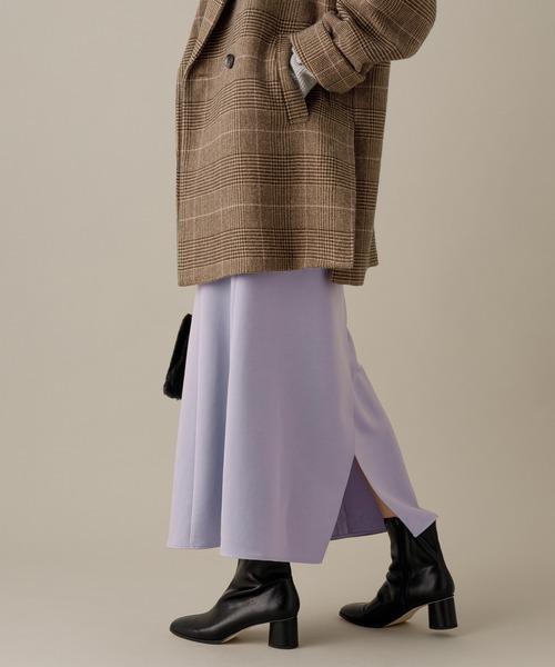 ADAM ET ROPE'(アダムエロペ)の「【INもOUTも】バックスリットサテンスカート(スカート)」|ラベンダー