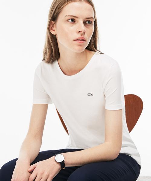 LACOSTE(ラコステ)の「コットンジャージークルーネックTシャツ(半袖)(Tシャツ/カットソー)」|ホワイト