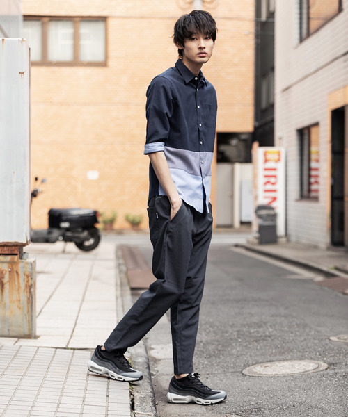 CERONIAS オックス裾切替七分袖レギュラーカラーシャツ
