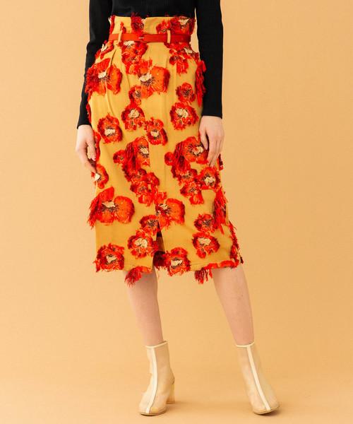 UNITED TOKYO(ユナイテッドトウキョウ)の「フラワーカットJQスカート(スカート)」|キャメル