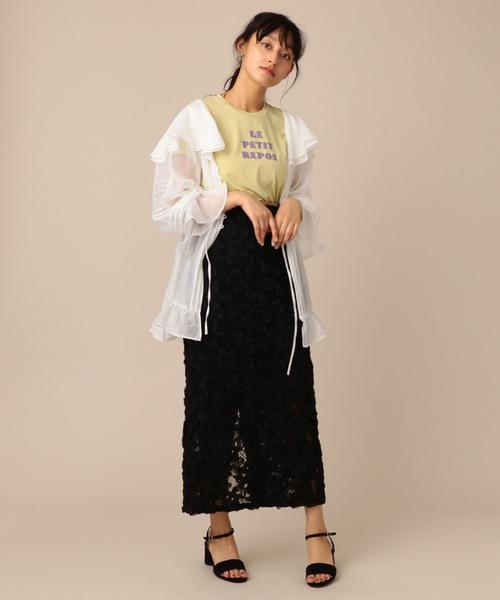 me&me couture(ミーアンドミークチュール)の「フラワーエンブロイダリーロングスカート(スカート)」|詳細画像