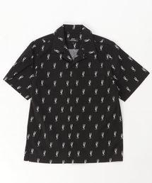 HYS MONOGRAM柄 オープンカラーシャツ【L】ブラック系その他