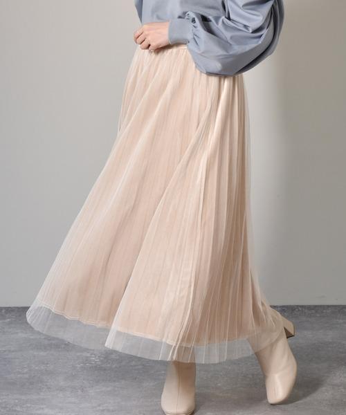 チュール×ベロアフレアスカート
