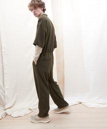 ドレープファブリックオーバーサイズジャンプスーツ【EMMA CLOTHES/エマクローズ】2021SSダークブラウン