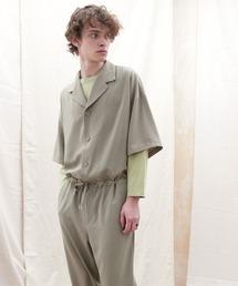 ドレープファブリックオーバーサイズジャンプスーツ【EMMA CLOTHES/エマクローズ】2021SSグレイッシュベージュ