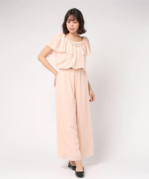 ネックレス&ベルト付シフォンワイドパンツドレス