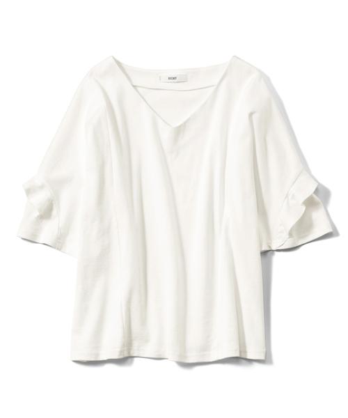 IEDIT(イディット)の「IEDIT SZ糸がうれしい袖フリルきれいめカットソートップス(Tシャツ/カットソー)」 オフホワイト