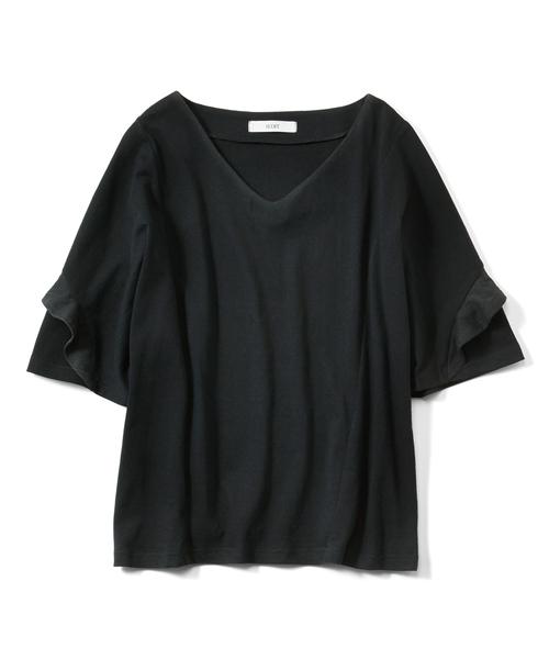 IEDIT(イディット)の「IEDIT SZ糸がうれしい袖フリルきれいめカットソートップス(Tシャツ/カットソー)」 ブラック