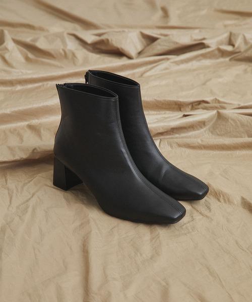 UNITED TOKYO(ユナイテッドトウキョウ)の「《WEB限定》レザーライクスクエアブーツ(ブーツ)」|ブラック