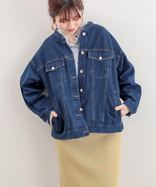 natural couture(ナチュラルクチュール)の「バンドカラールーズGジャン(デニムジャケット)」 ブルー
