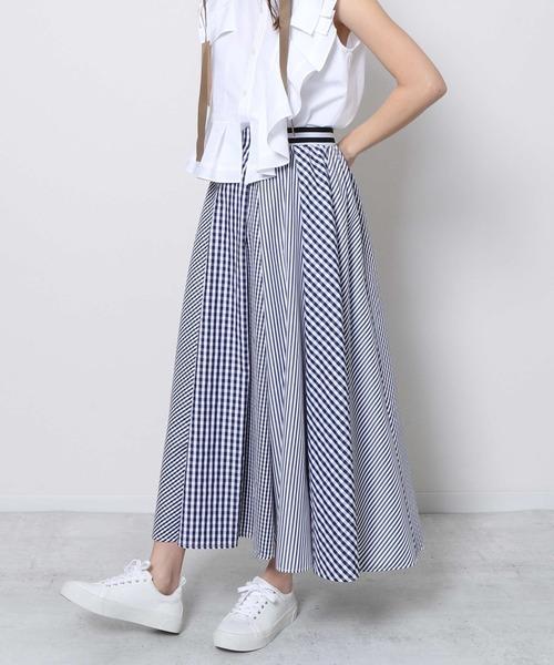 Re.Verofonna(ヴェロフォンナ)の「ギンガム×ストライプスカート(スカート)」|ネイビー
