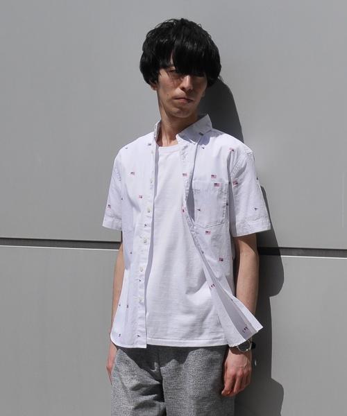 星条旗モチーフ半袖シャツ