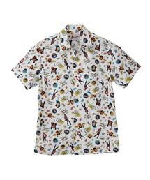 MICHAEL JACKSON/MJ-BEAT IT! SCRATCH総柄 半袖レギュラーカラーシャツ