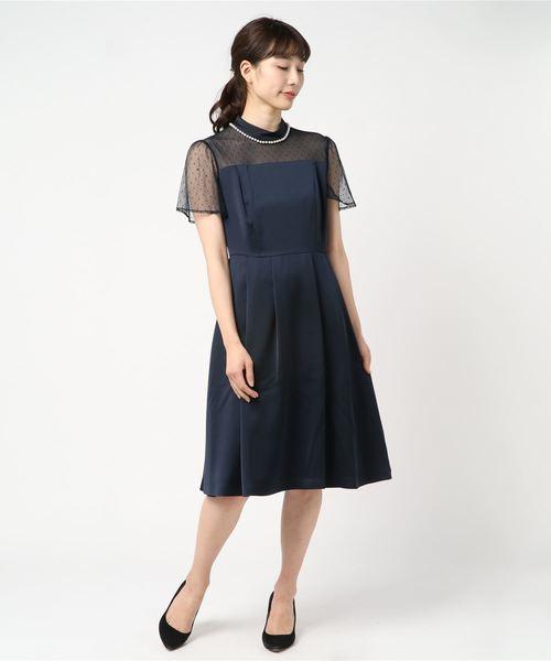 fa6c1890baa69 MEW S REFINED CLOTHES(ミューズ リファインド クローズ)のパール装飾ドットチュールドレス(