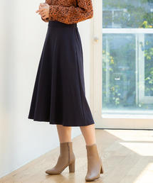 【WEB限定】ポンチイージーミドルフレアスカート