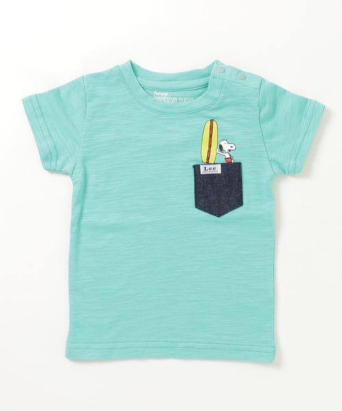 Lee(リー)の「LEE×PEANUTS サーフポケットTシャツ /SNOOPY スヌーピー リー×ピーナッツ T-shirt(Tシャツ/カットソー)」|グリーン