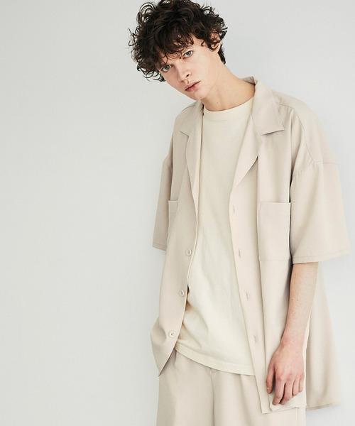 ビッグシルエット ラペルドレープシャツ【EMMA CLOTHES/エマクローズ】2021SS