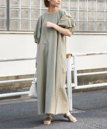 india綿麻裾フリンジワンピ