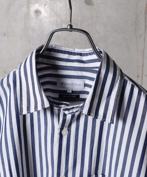 SHIPS  JET BLUE: ワイドストライプ レギュラーカラーシャツ◇