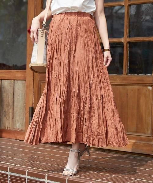 titivate(ティティベイト)の「ワッシャープリーツスカート(スカート)」|オレンジ