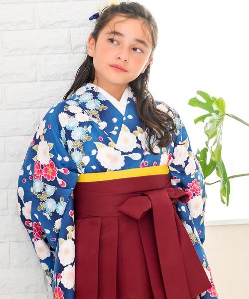 袴セット 二尺袖着物 無地袴 花和柄 4点セット(着物、袴、袴下帯、襦袢)