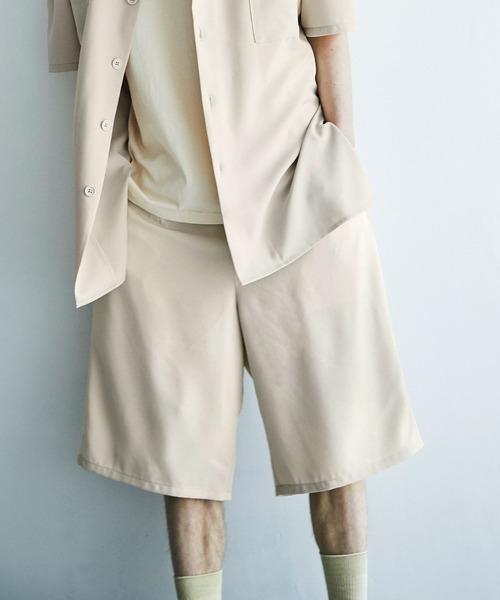 裾サイドロープ1タックワイドショーツ【EMMA CLOTHES/エマクローズ】2021SS