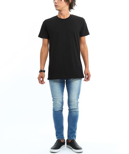 半袖エンボス加工背面切替Tシャツ