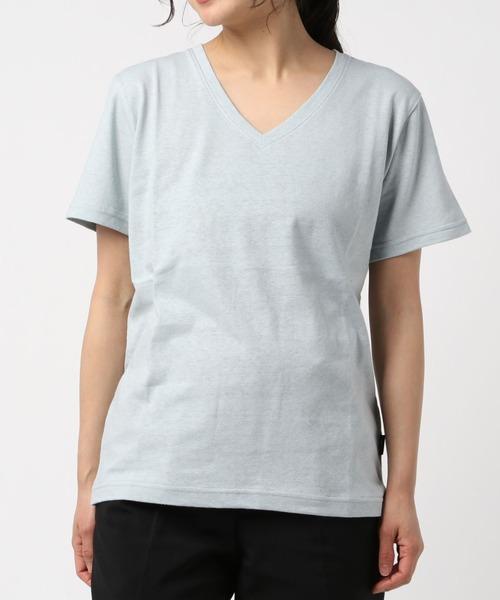 Allumer(アリュメール)の「ベルギーリネンVネックTシャツ(Tシャツ/カットソー)」|詳細画像