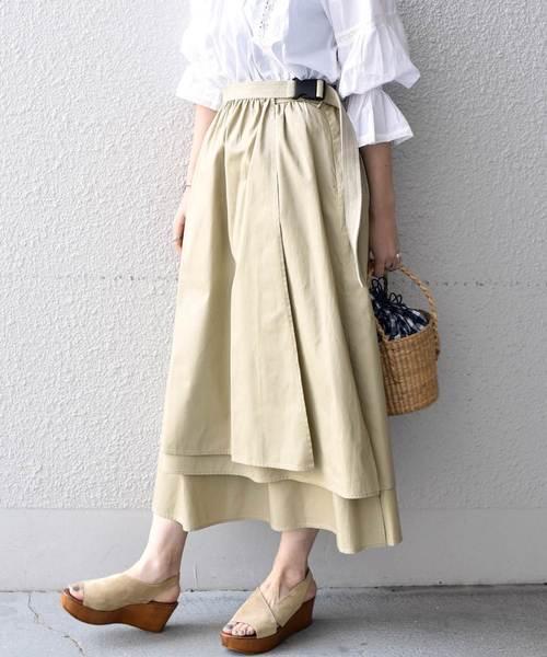 Khaju(カージュ)の「Khaju:ギャザーラップスカート(スカート)」|ベージュ