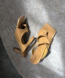 【chuclla】Square-toe thongs mule sb-6 chs38キャメル