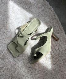 【chuclla】Square-toe thongs mule sb-6 chs38モスグリーン