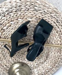 【chuclla】Square-toe thongs mule sb-6 chs38ブラック