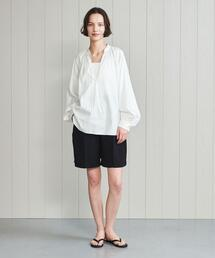 <H>COTTON SILK GATHER SKIPPER BLOUSE/ブラウス