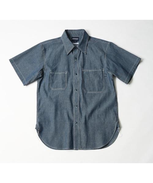 MAGIC NUMBER(マジック ナンバー)の「CHAMBRAY UTILITY WORK SHIRTS S/S(シャツ/ブラウス)」 ブルー