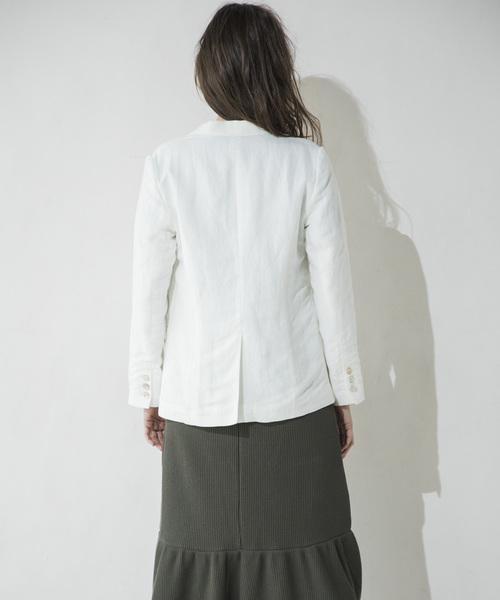 【STYLEBAR】シェルボタンリネンシングルジャケット