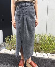 Settimissimo(セッティミッシモ)のケミカルウォッシュフロントデザインデザインナロースカート(デニムスカート)