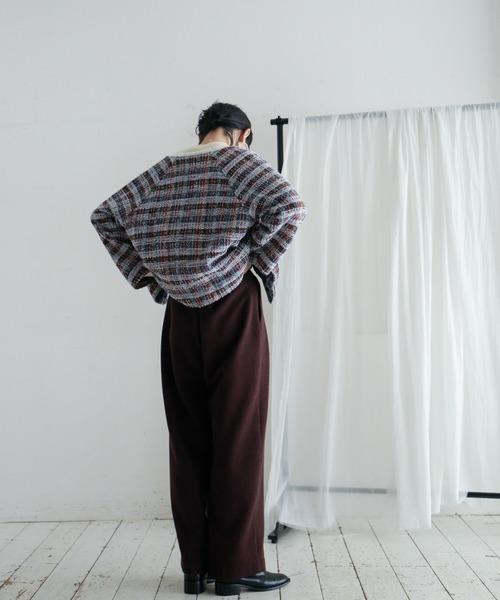 正規激安 【Fabric in FIL Italy DE】ファンシーチェックツイード ワイドスリーブジャケット(ノーカラージャケット) in FIL DE FER(フィルデフェール)のファッション通販, 阿久比町:6c665826 --- 5613dcaibao.eu.org