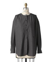 Drawer コットンチェックノーカラーシャツ