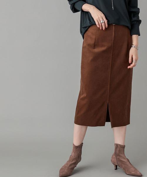 RIVE DROITE(リヴドロワ)の「脚長効果のある美シルエット エコスウェードZIPスカート (ひざ丈)(スカート)」|ブラウン