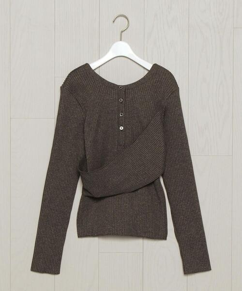 <INSCRIRE>HENRY NECK PULLOVER BROWN/カットソー.