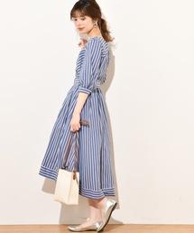 natural couture(ナチュラルクチュール)の共ベルト付きカシュクールワンピ(ワンピース)