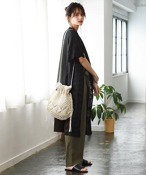 マクラメ編み巾着型ショルダーバッグ