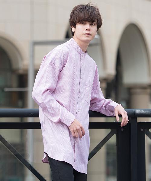 UP START(アップスタート)の「バンドカラービッグシルエットシャツ(シャツ/ブラウス)」|ピンク系その他
