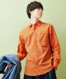 レギュラーカラー ストレッチリネンシャツ L/S (Natural cotton linen fabric)オレンジ系その他