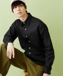 レギュラーカラー ストレッチリネンシャツ L/S (Natural cotton linen fabric)ブラック